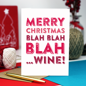Merry Christmas Blah wine funny card