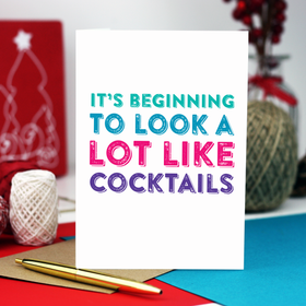 funny cocktails christmas card