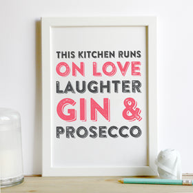 prosecco and gin kitchen print