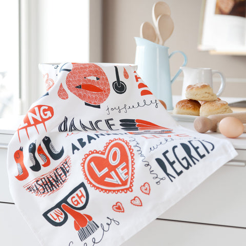 Eat, Drink, Dance Sing! (Red) - Tea Towel design in kitchen - by Freya Art