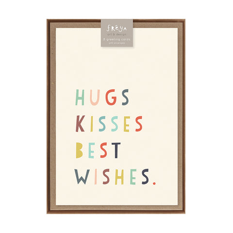 HUGS KISSES BEST WISHES  - Greeting Card Pack
