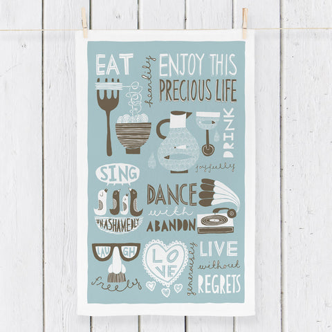 Eat, Drink, Dance, Sing! (Duck Egg Blue) - Tea Towel design - by Freya Art
