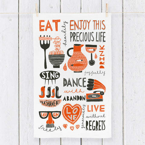 Eat, Drink, Dance Sing! (Red) - Tea Towel design - by Freya Art