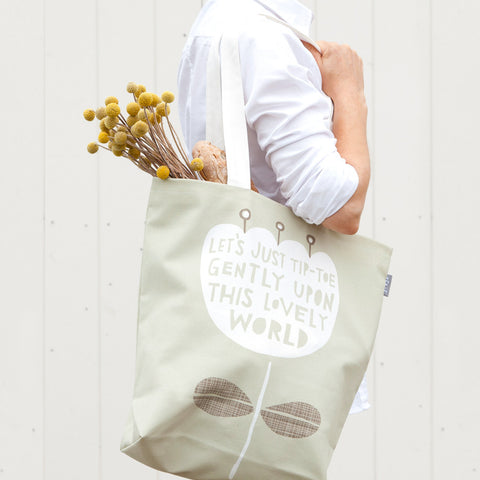 This Lovely World - Bag design on model - by Freya Art