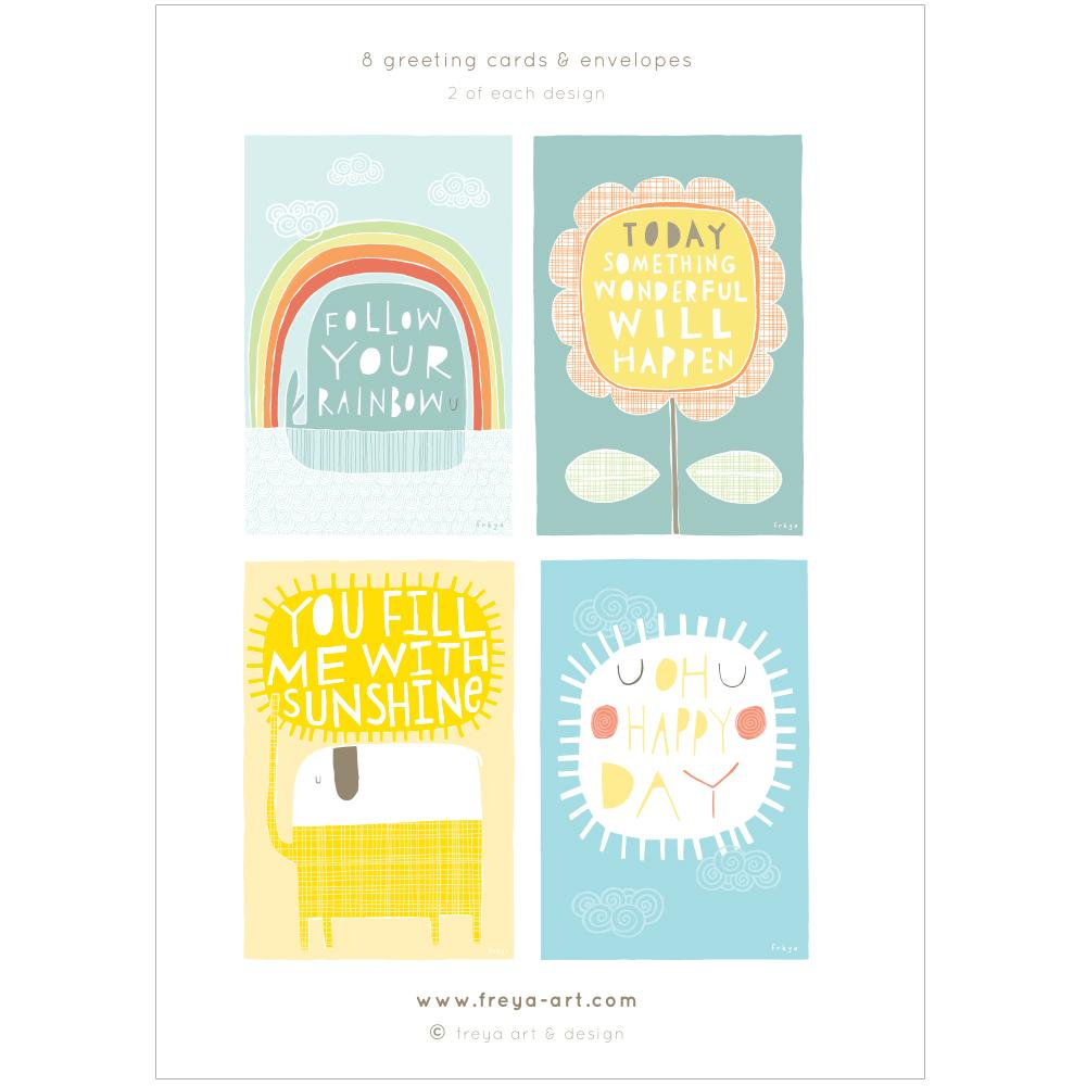 A LITTLE BOX OF HAPPY - Greeting Card Pack - Freya Art & Design