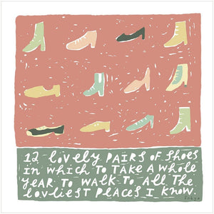 A YEAR OF LOVELY SHOES - Greeting Card - Freya Art & Design