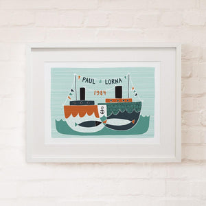 ANCHORED TOGETHER - Personalised Fine Art Print - Freya Art & Design