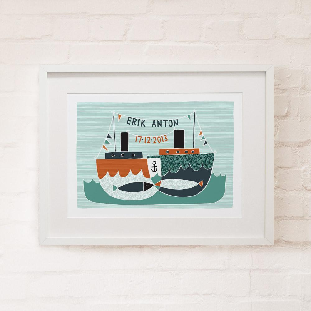 BABY BOATS - Personalised Fine Art Print - Freya Art & Design