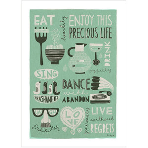 ENJOY THIS PRECIOUS LIFE (green) - Greeting Card - Freya Art & Design