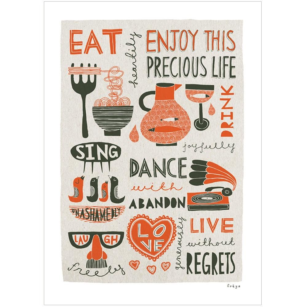 ENJOY THIS PRECIOUS LIFE (Red) - Fine Art Print - Freya Art & Design