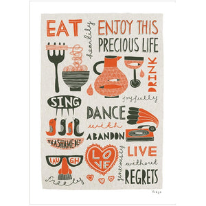 ENJOY THIS PRECIOUS LIFE (red) - Greeting Card - Freya Art & Design