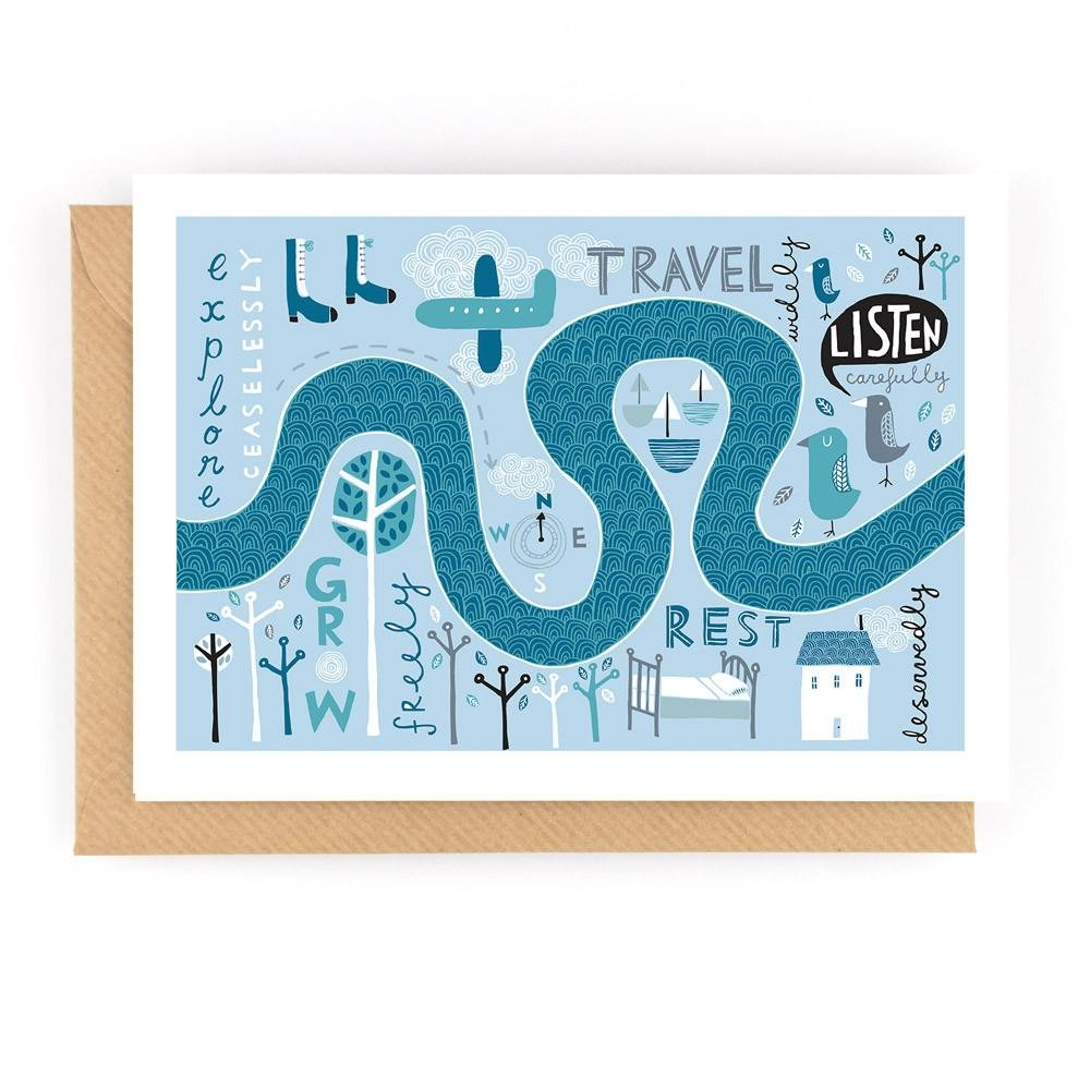 EXPLORE, TRAVEL, GROW! - Greeting Card - Freya Art & Design