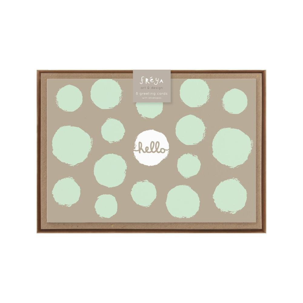 HELLO (TAUPE & MINT SPOT) - Greeting Card Pack - Freya Art & Design