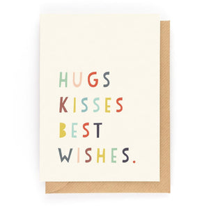 HUGS KISSES BEST WISHES - Mini Gift Card - Freya Art & Design