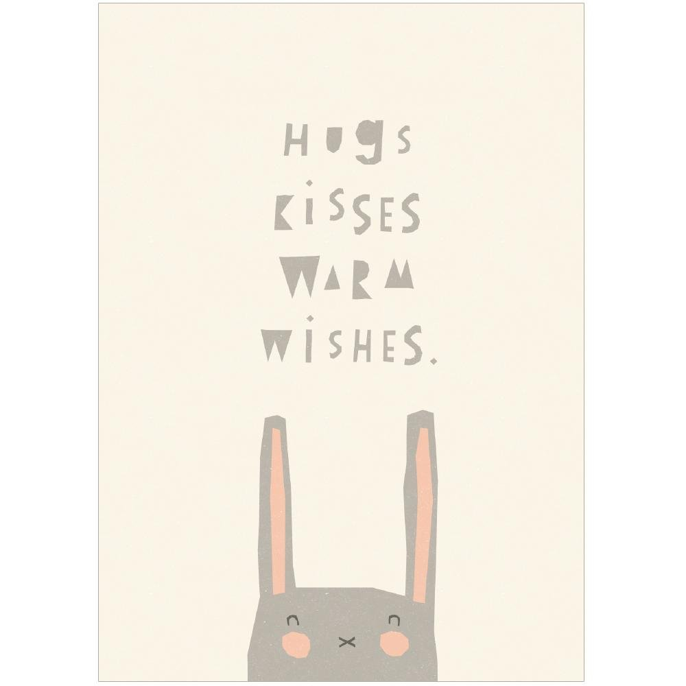 HUGS KISSES WARM WISHES - Greeting Card - Freya Art & Design