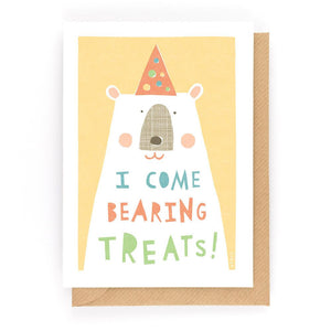 I COME BEARING TREATS - Greeting Card - Freya Art & Design