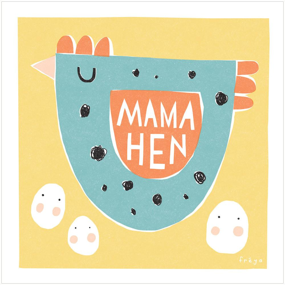 MAMA HEN - Greeting Card - Freya Art & Design