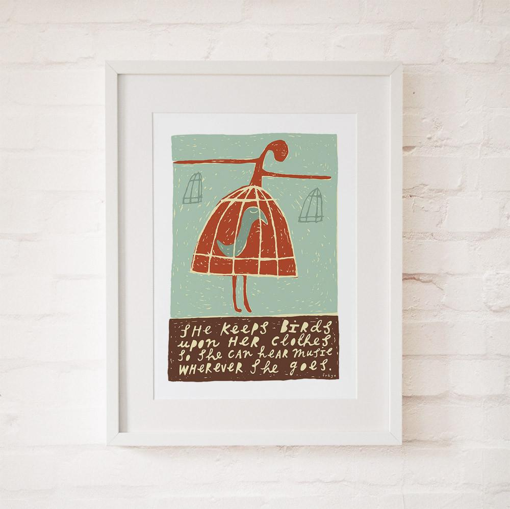 SHE KEEPS BIRDS - Fine Art Print - Freya Art & Design
