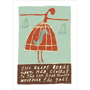 SHE KEEPS BIRDS - Greeting Card - Freya Art & Design