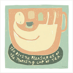 THE DIVINE PLEASURES OF TEA - Greeting Card - Freya Art & Design