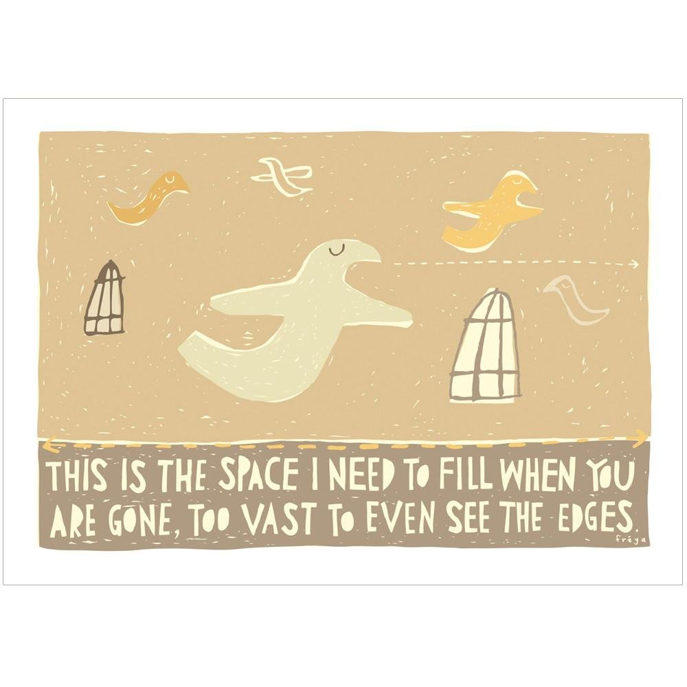THE SPACE WHEN YOU'RE GONE - Greeting Card - Freya Art & Design