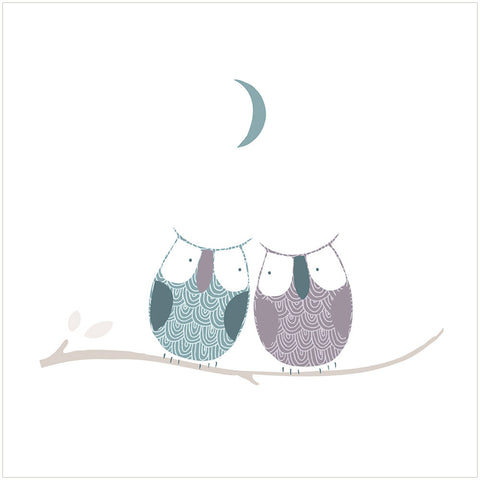 Two Little Owls - Greeting Card design - by Freya Art