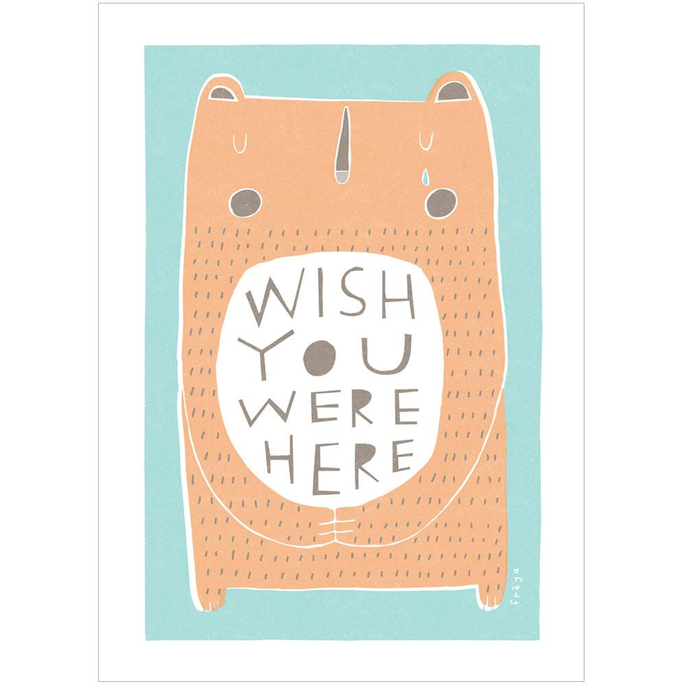 WISH YOU WERE HERE - Greeting Card - Freya Art & Design