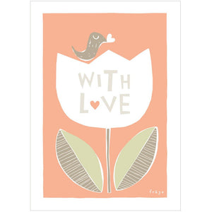 WITH LOVE FLOWER - Mini Gift Card - Freya Art & Design