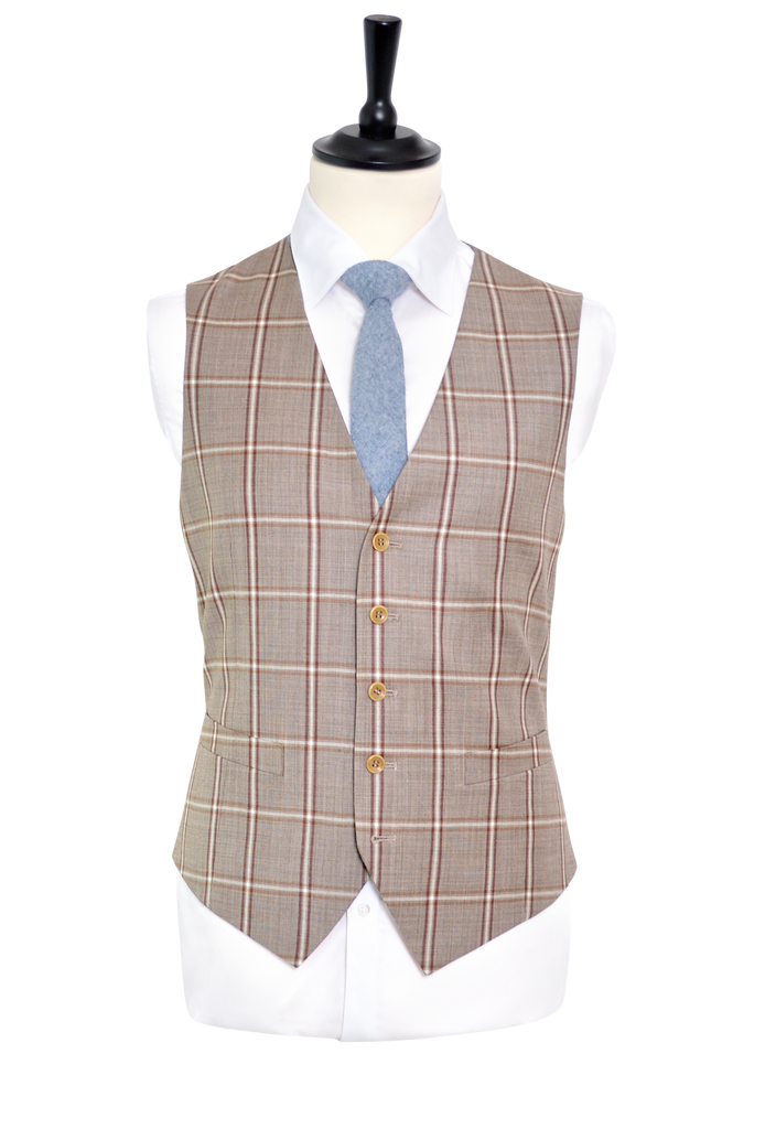 TWO SHADES OF BROWN WINDOW PANE SUIT