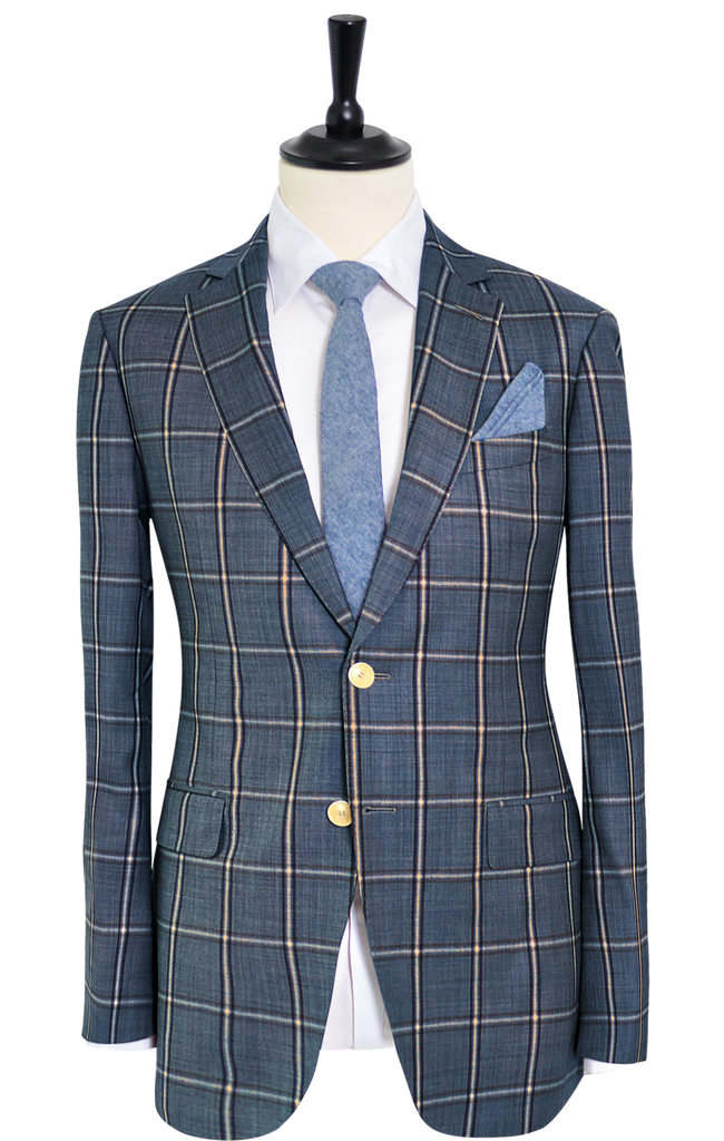 BLUE BROWN WINDOW PANE SUIT