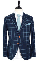 THREE SHADE OF BLUE WINDOW PANE SUIT