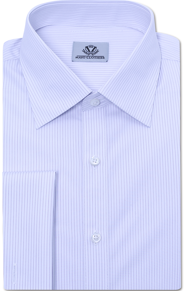 PURPLE & WHITE PIN STRIPE DRESS SHIRT