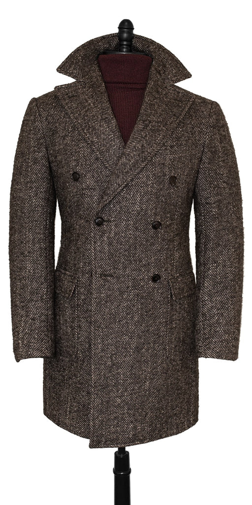 HERRINGBONE BROWN OVERCOAT