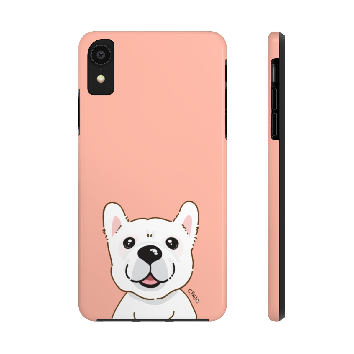 White Frenchie Tough Phone Cases (Peach)