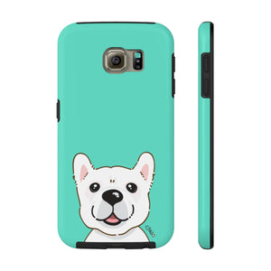 White Frenchie Tough Phone Cases (CYNJO Blue)
