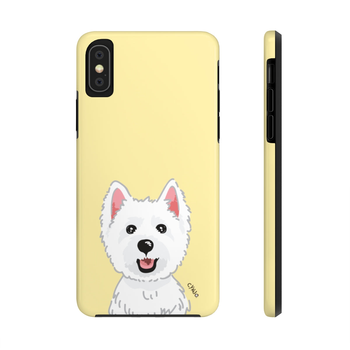 Westie Tough Phone Cases (Light Yellow)