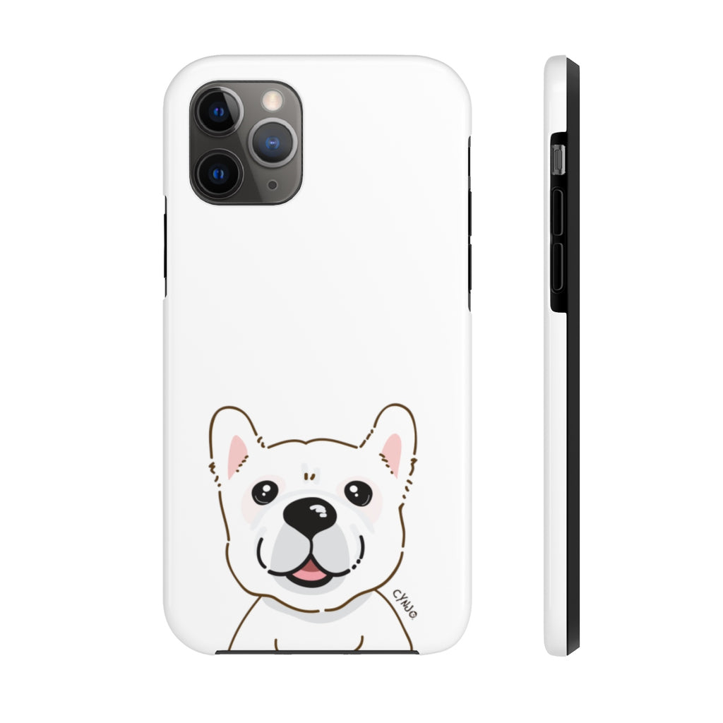 White Frenchie Tough Phone Cases (White)