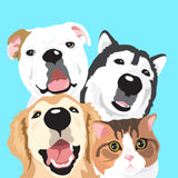 Cartoonish Pet Portrait • 4 Pets