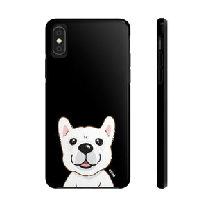 White Frenchie Tough Phone Cases (Black)