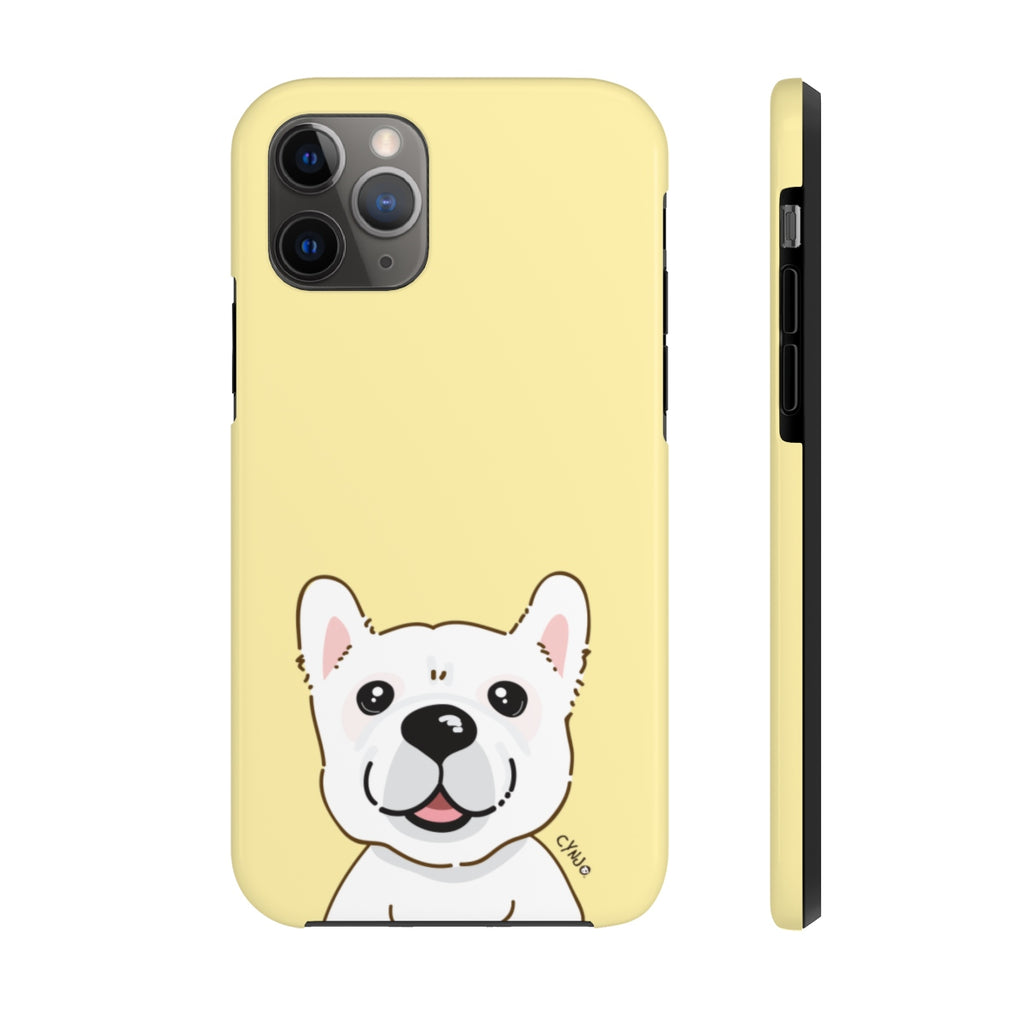 White Frenchie Tough Phone Cases (Light Yellow)