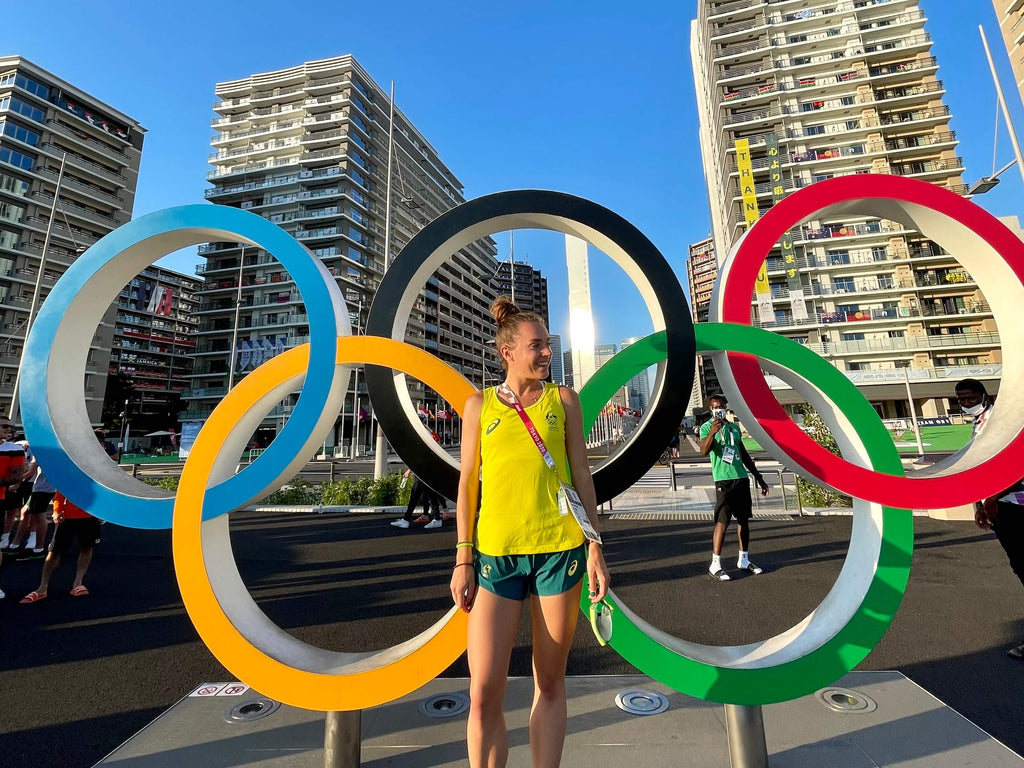 Izzi and the Olympic rings in Tokyo