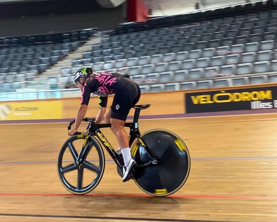 Shannon Cycling round a track preparing for the Olympics