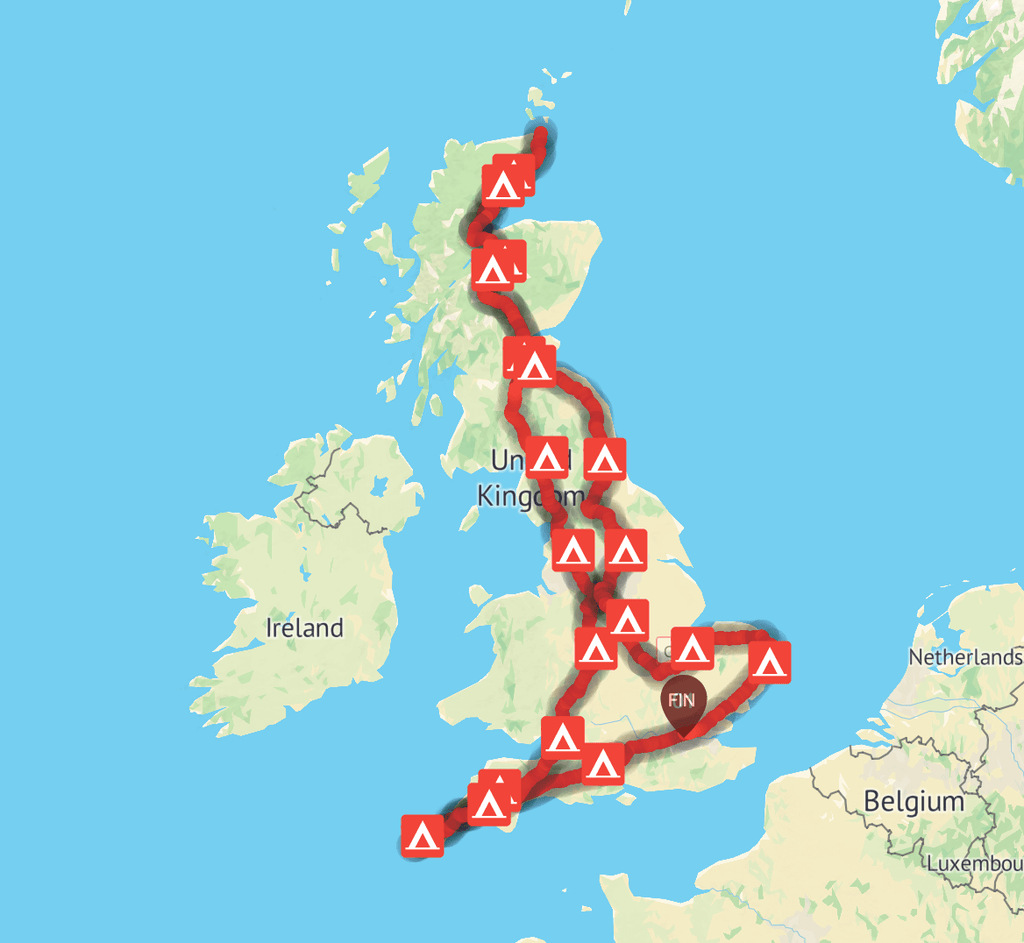 Map of Chris' cycle round the UK