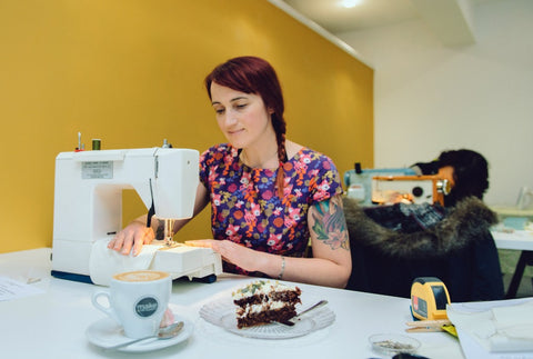 Sewing and cake eating