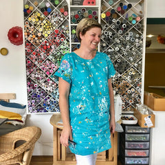 Maxine Hale in her Stevie dress made with nani IRO linen