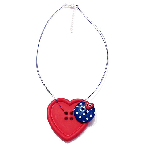 Nautical Heart Button Necklace