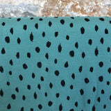 Scribble Dots Teal Organic Soft Sweat Jersey by Poppy