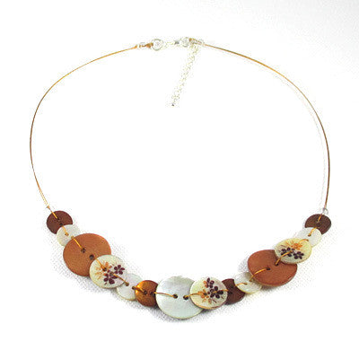 Anna Button Necklace Rust Orange