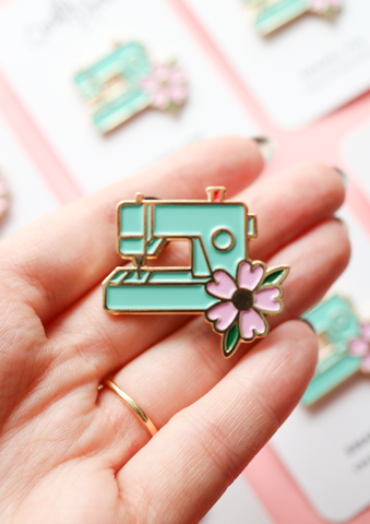 Mint Sewing Machine Pin by Crafty Pinup
