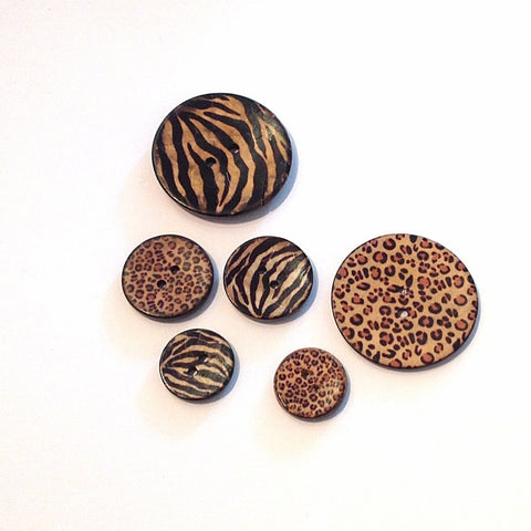Animal Print Coconut Shell Buttons